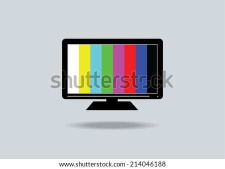 TV icon with colour bar - stock vector