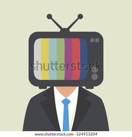 TV on the head of a man - stock vector
