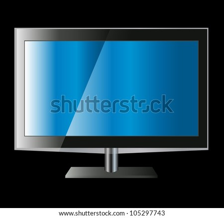TV or monitor flat screen lcd, plasma save enery version realistic vector illustration.