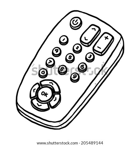 TV remote / cartoon vector and illustration, black and white, hand drawn, sketch style, isolated on white background. - stock vector