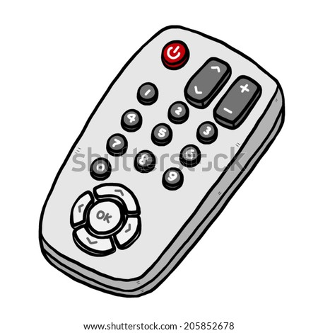 TV remote / cartoon vector and illustration, hand drawn style, isolated on white background. - stock vector