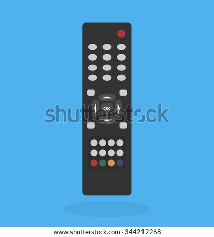 Tv remote control. Flat style - stock vector