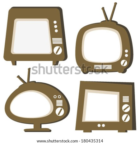 TV retro brown icons - stock vector