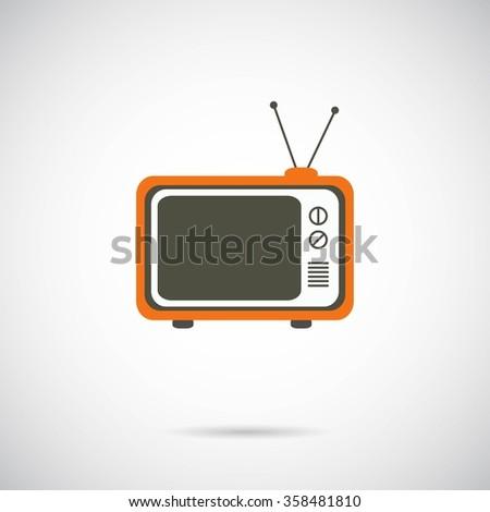 Tv retro icon on white background. Vector art. - stock vector