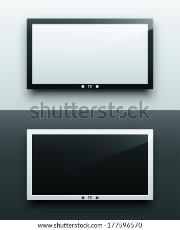 TV screen hanging, black and white, eps 10. - stock vector