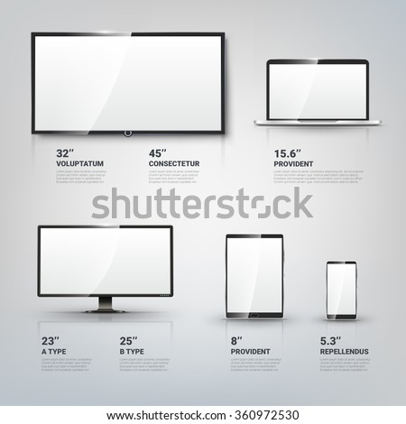 TV screen, Lcd monitor and notebook, tablet computer, mobile phone templates. Electronic devices infographic. Technology digital device, size diagonal display. Vector illustration - stock vector