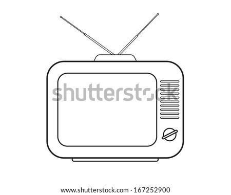 TV set drawing - stock vector