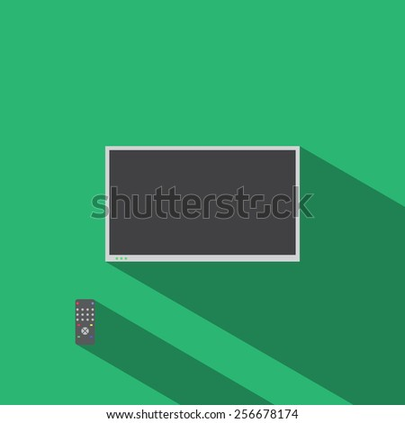 TV set flat icon and remote control.Long shadow - stock vector