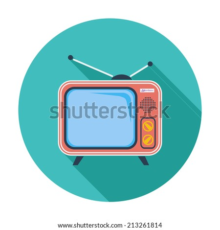 TV. Single flat color icon. Vector illustration. - stock vector
