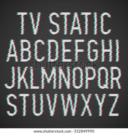 TV Static noise effect font. Vector. - stock vector