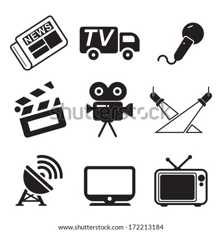 TV Station Icons - stock vector