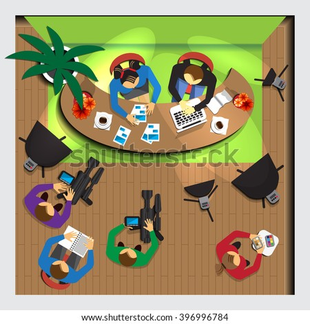 TV studio. View from above. Vector illustration. Applique with realistic shadows. - stock vector