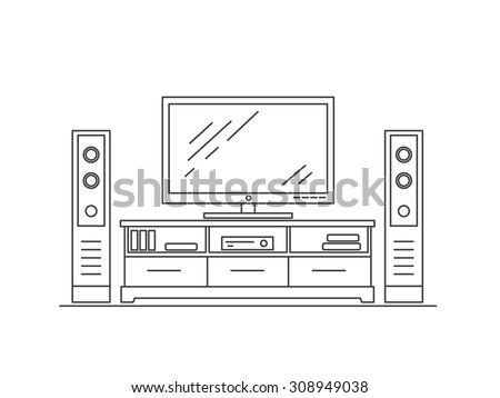 TV table with TV and speakers  . TV set with tuner. Modern furniture. Living room interior.Thin line flat design vector illustration. - stock vector
