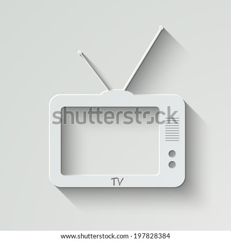 TV vector icon - paper illustration with shadow on light background - stock vector