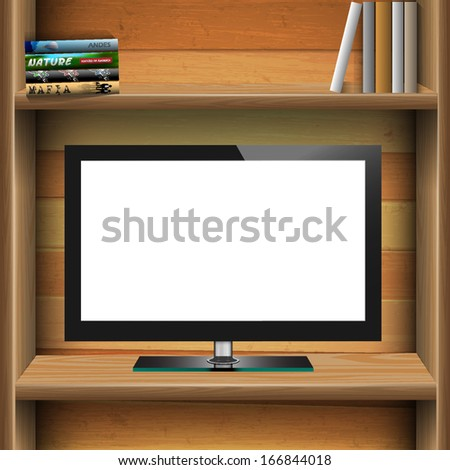 TV widescreen lcd monitor on wooden shelf with books. Vector EPS10 - stock vector