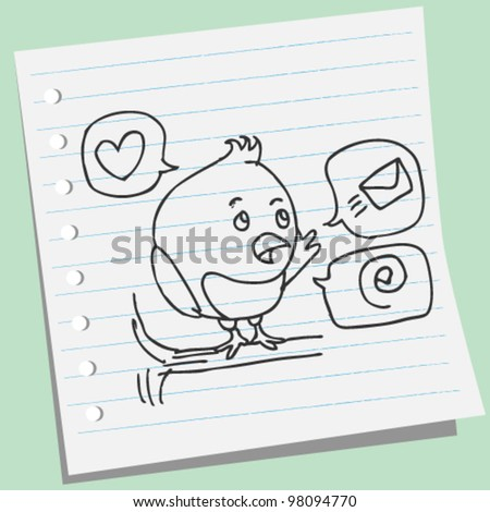 tweet bird doodle illustration - stock vector