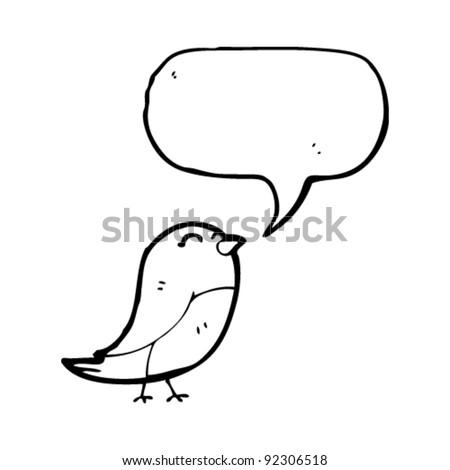 tweeting bird cartoon - stock vector