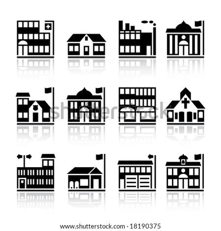 Twelve building silhouettes. - stock vector
