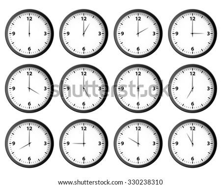 Twelve clocks set at each hour vector - stock vector