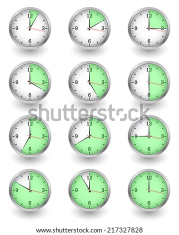 Twelve clocks showing different time on white. Vector illustration - stock vector