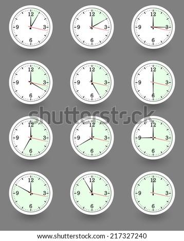 Twelve clocks showing different time. Vector illustration - stock vector