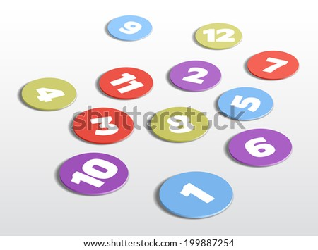 Twelve colored circles with numbers, vector illustration