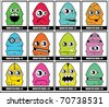 Twelve colorful monsters - stock vector