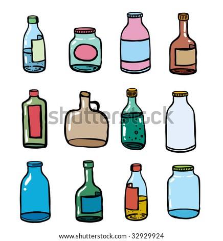 Twelve different glass bottles an illustration - stock vector