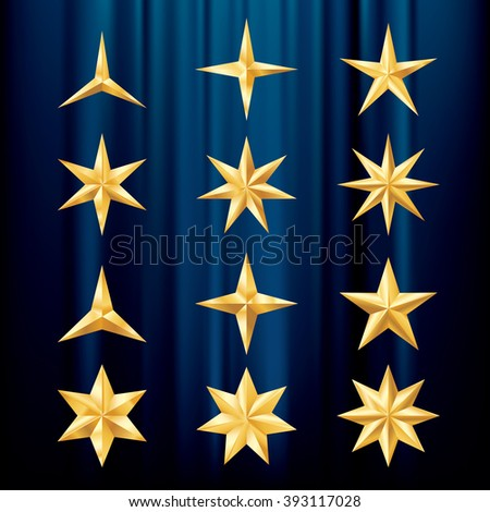 twelve different vector golden stars on blue velvet background, layered and editable - stock vector