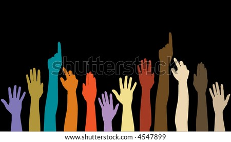 Twelve hands of different color placed against a black background
