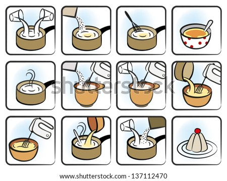 Twelve Icons Representing a Recipe for a Dessert - stock vector