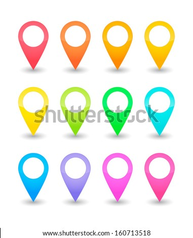 Twelve map pointers in various colors - stock vector