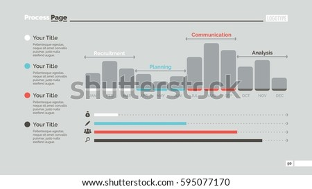 Twelve Month Bar Chart Slide Template Stock Vector