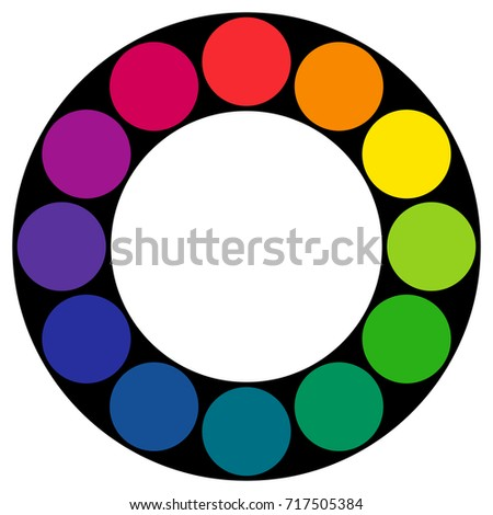Twelve Part RGB Color Wheel Composed Of Circles In Black Ring Complementary Colors Are Opposite