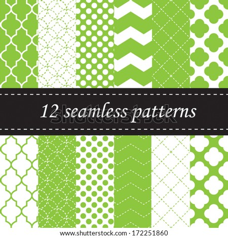 Twelve seamless geometric patterns with quatrefoil, chevron and polka dot designs, in green - stock vector