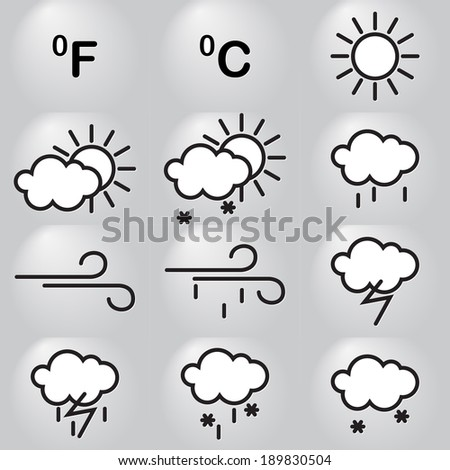 Twelve weather icons