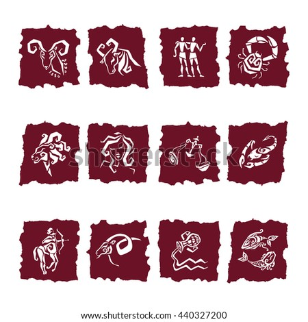 Twelve Zodiac icon. Horoscope Zodiac Star signs. Astrological Illustrations - stock vector
