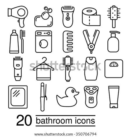 twenty bathroom icons collection - stock vector