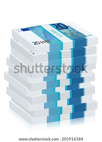 Twenty euro banknotes stacks on a white background. Vector illustration.