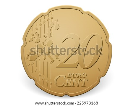 Twenty euro cent coin on a white background. - stock vector