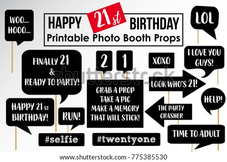 twenty first birthday party printable photo booth props