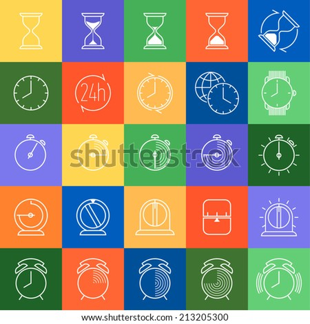 Twenty five different time and clock icons in colorful squares | Large time icons collection featuring glass hour, alarm clock, countdown timer, watch and more - stock vector