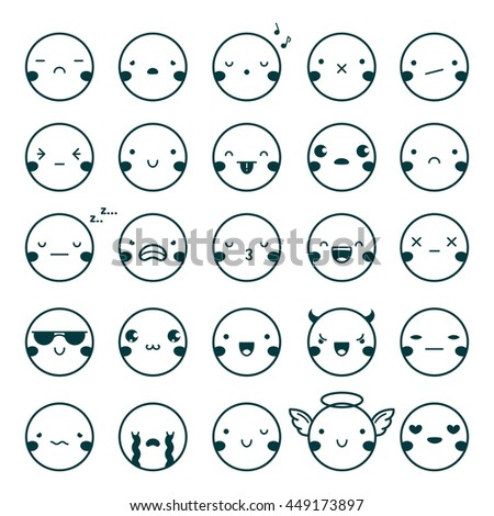 Twenty-five emoji emoticons black set showing different emotions isolated on white background flat vector illustration