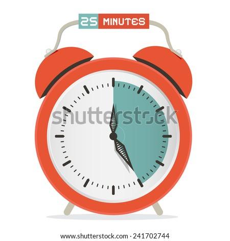 Twenty Five Minutes Stop Watch - Alarm Clock Vector Illustration  - stock vector