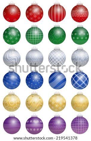 Twenty-four colorful shiny christmas tree balls  - a kind of an advent calendar - with different ornaments. Isolated vector illustration over white background. - stock vector