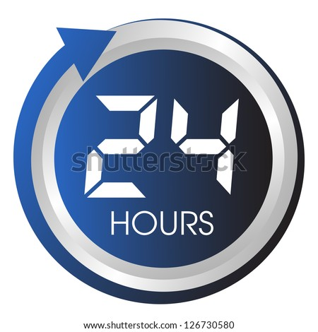 Twenty four hours button. - stock vector