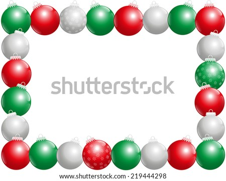 Twenty-four shiny christmas tree balls, some with snow flake ornament, that form a frame - horizontal landscape format. Isolated vector illustration on white background. - stock vector