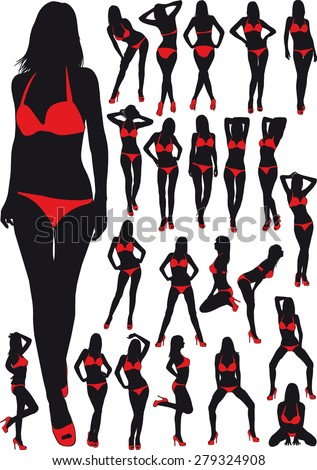 twenty three silhouette  erotic girl in red bathing suit
