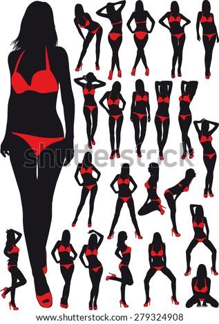 twenty three silhouette  erotic girl in red bathing suit - stock vector