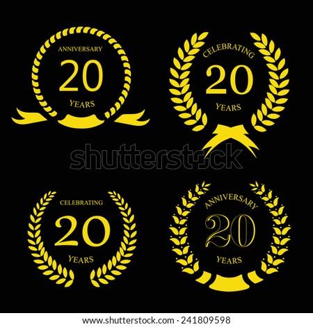 twenty years anniversary laurel gold wreath -  20 years set - stock vector